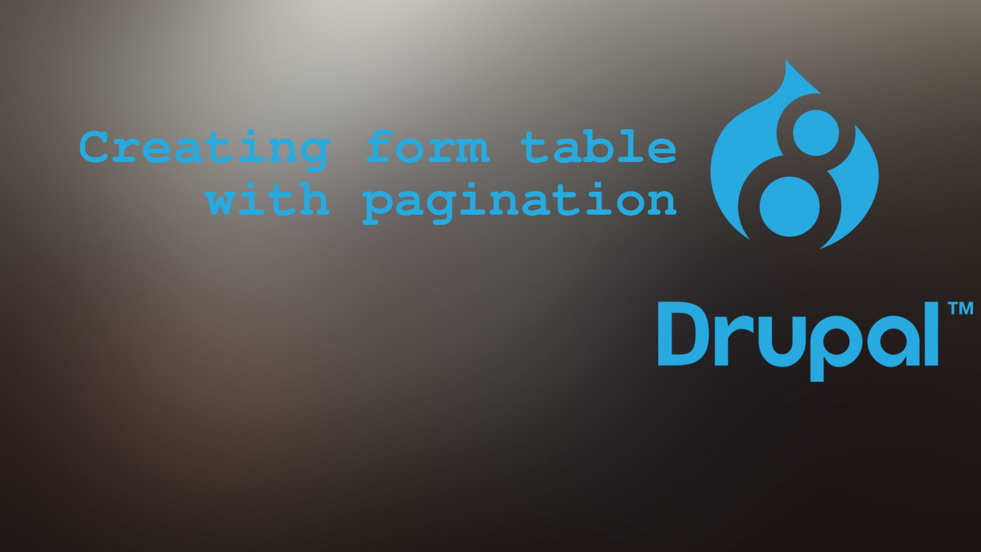 How to Create Form Table with pagination in Drupal 8