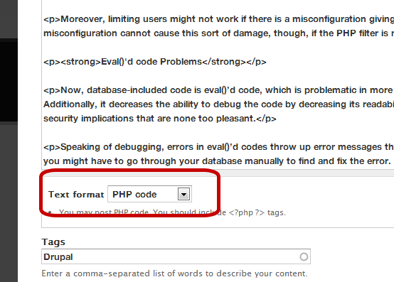 PHP filter in Drupal 7 Core